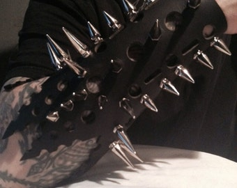 Spiked Out Black Leather Gauntlets
