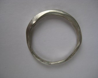 Forged, recycled silver ring