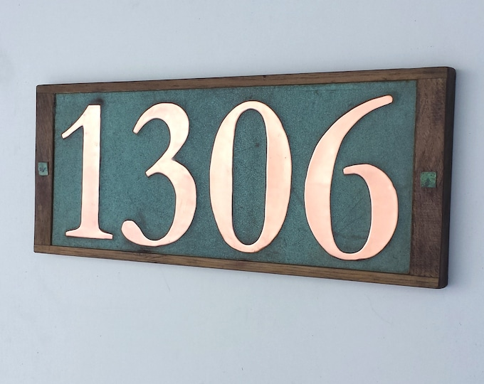 "Large Real Copper House numbers 6""/150mm high in oak frame 4 x nos. handmade in UK, shipped worldwide o"