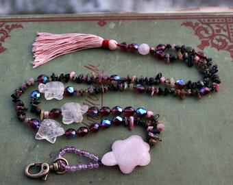 Pink Turtle Lanyard. Talisman Necklace. Totem. Bohemian. Boho. Rustic. Organic Necklace