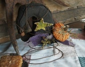 Primitive Witch Hat Bedspring Halloween Prim Pumpkin Star Rusty Wire Home Decor