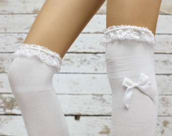 White lace top bow socks  thigh high socks Knee high socks- socks women knee  Socks  -socks