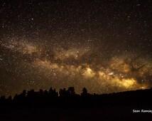 Space Photography, Milky Way Galaxy, Art Print, Landscape Photography, Space Art, Landscape Art, Forests, Trees, Night Lights, Space, Art