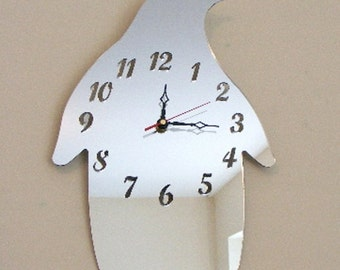 Penguin Clock Mirror - 2 Sizes Available