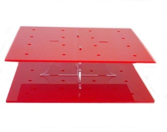 Square Solid Red Acrylic Cake Pop Stand - 2 Sizes Available