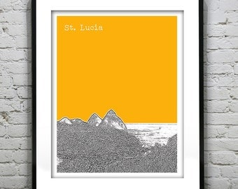St. Lucia Poster Skyline Art Print The Pitons Lesser Antilles Caribbean