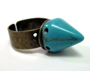 Turquoise Howlite Spike Ring