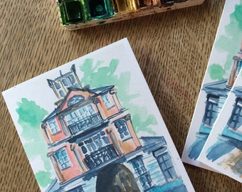 Watercolor Notecard Pink Building - Cotton District, Starkville Mississippi