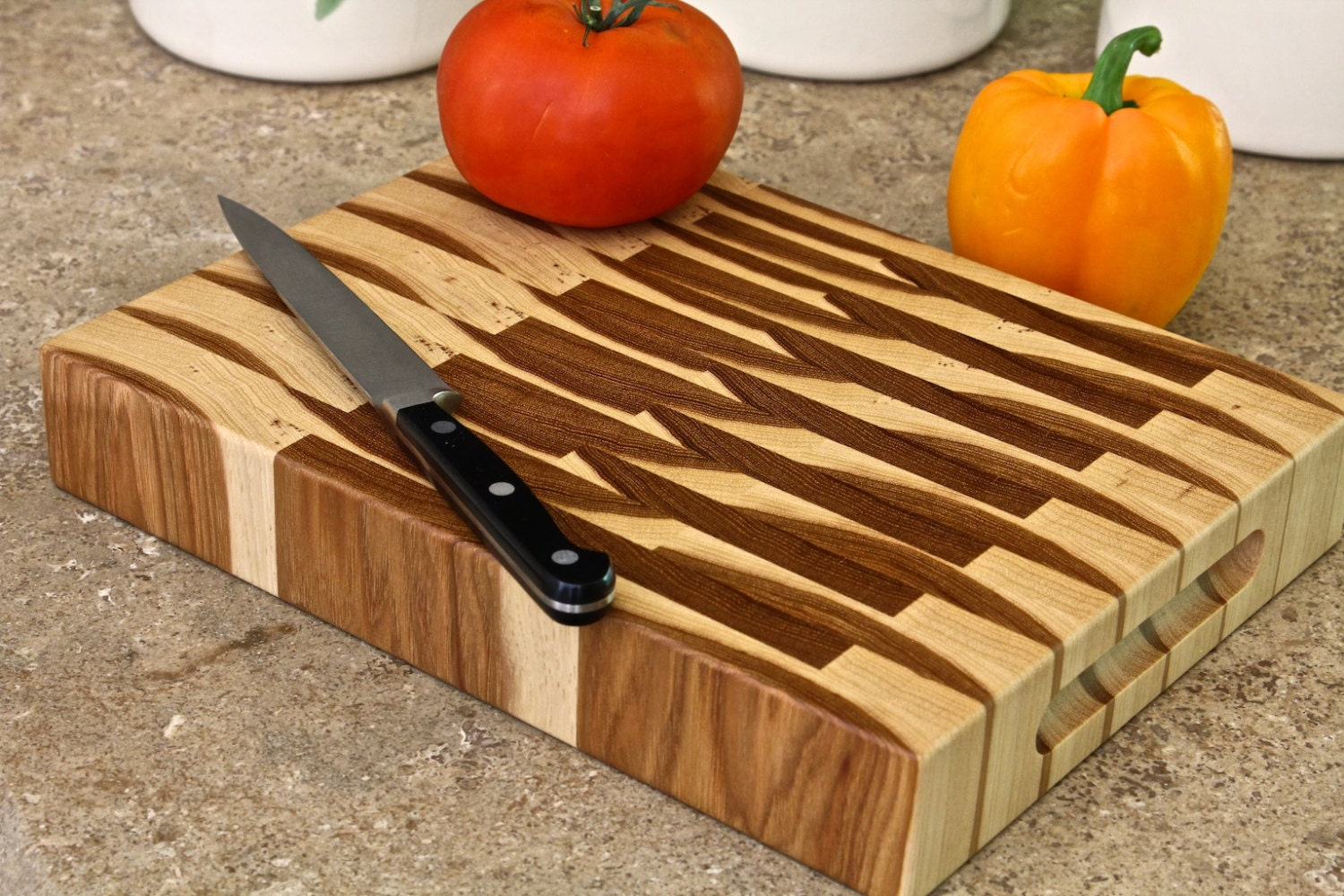 Butcher Block Cutting Boards ~ End grain butcher block cutting board in pecan hickory
