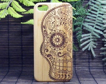Sugar Skull iPhone 5 or 5S or SE Case. Bamboo Wood Cover. Artistic Day of the Dead Mexican Calavera Catrina Dia De Los Metros. iMakeTheCase