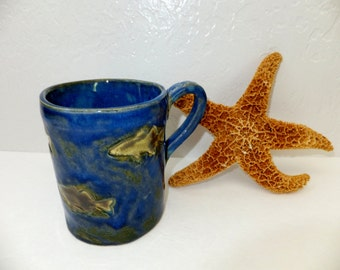 Large Blue Ceramic Fish Coffee Mug, Handmade Ceramic Pottery Mug