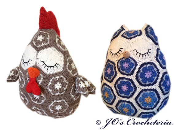 Crochet Patterns - Maggie the African Flower Owl and Frank the African Flower Chicken/Rooster