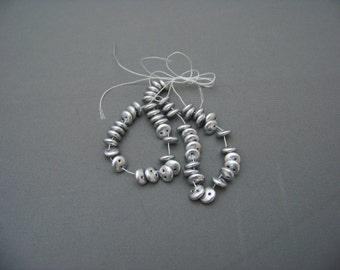 6mm 2 Hole Siilky Silver Lentil beads/3002