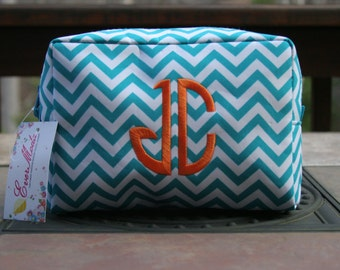 Personalized Chevron Make-Up Bag with Embroidered Monogram or Initials