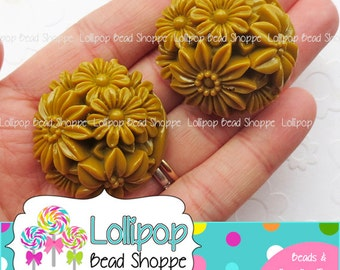 LATTE BROWN Flower Beads Floral Bouquet Synthetic Coral Beads 37mm 2-ct Plastic Round Beads Resin Beads Chunky Beads Bubblegum Necklace