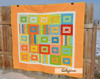 Butterfly Love Handmade Quilt - Bright and Fun Colors, Twin Size Quilt