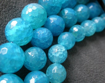 8pcs Blue Fire Agate 12mm round 128 faceted Gemstone Beads B12