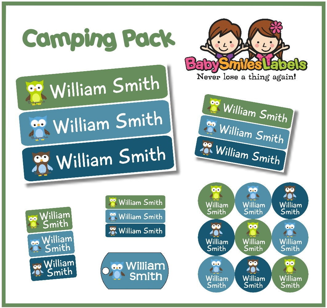 Camp Pack Personalized Waterproof Labels Shoe Labels