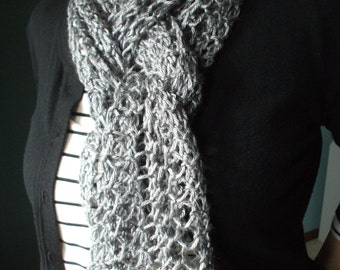 Silver Gray Scarf Hand Knit Light Weight Lacy Open Weave Fashion Scarf
