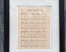 Come Thou Fount Vintage-look Hymn Sheet Music on Canvas Board Home Decor Christian Inspirational Art Gift Pastor Dad Grandparent Mother