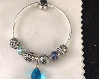 Authentic Pandora Bangle Sterling Silver Charms
