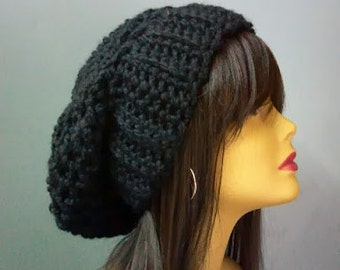 Chunky Textured Slouchy Winter Hat Womens Fashion Accessories / the Ottawa / in Black