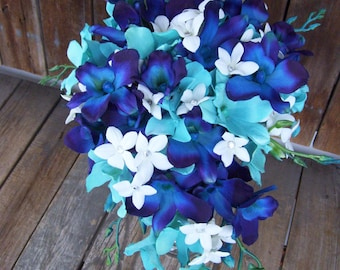 Desiree's 2nd Design, Cascade Bridal Bouquet with Jade Turquoise Orchids and Hydrangeas, Stephanotis