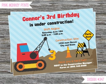 DIY - Boy Construction Party Birthday Invitation - Coordinating Items Available