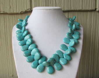 Chunky Turquoise Necklace,Turquoise,Blue Necklace