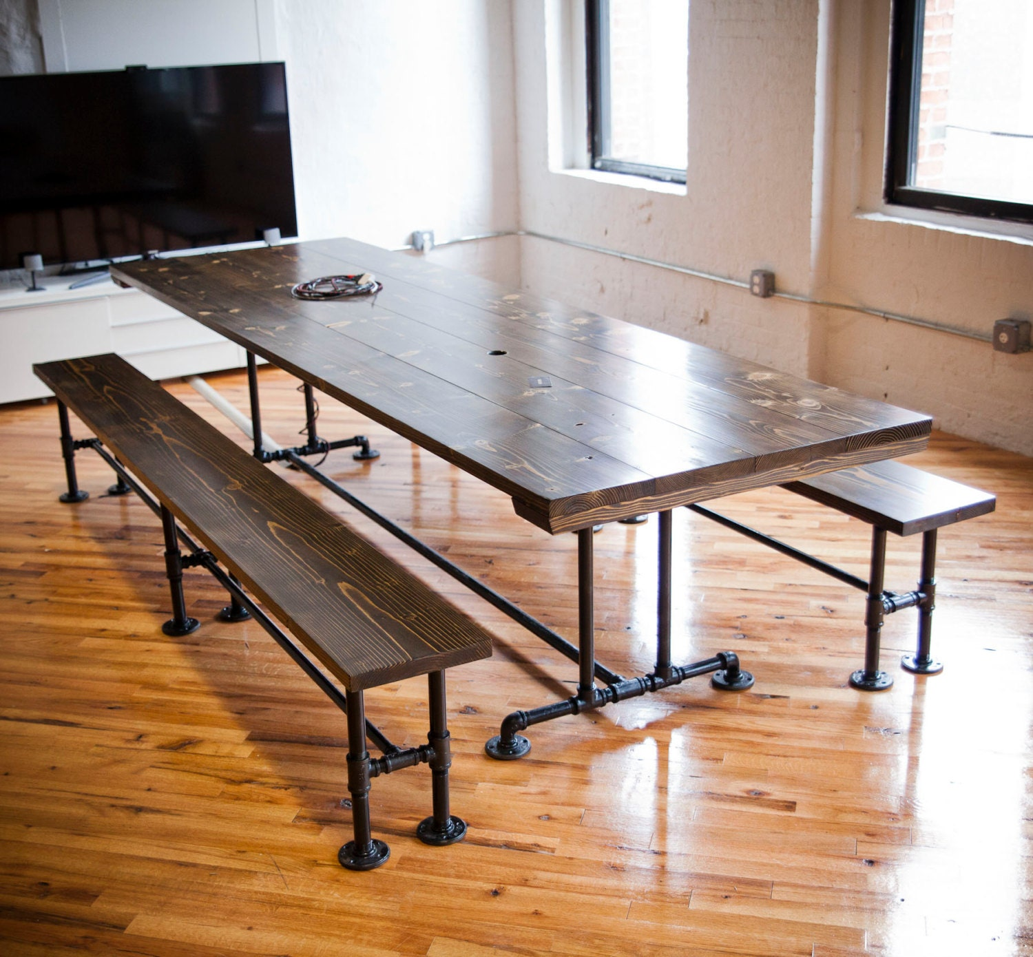 Industrial conference table industrial table with metal - Industrial kitchen tables ...