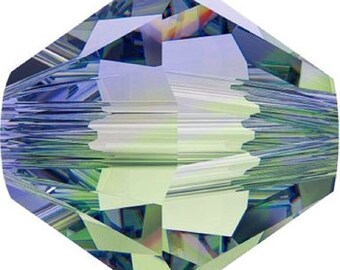 50 Swarovski Crystal Beads 4mm bicone 5328 provence lavender chrysolite blend transparent