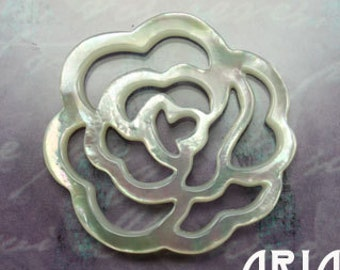 MOTHER OF PEARL: 35mm Mother of Pearl Carved Openwork Abstract Rose Component or Connector (1)