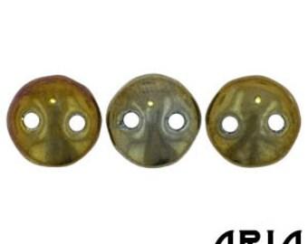 BROWN IRIS: 6mm Two-Hole Czech Glass Lentil Beads (50 beads per strand)