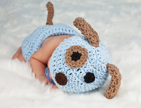 Crochet Dog Hat And Diaper Cover Pattern : Crochet BLUE or Pink PUPPY Dog Hat and Diaper cover set with