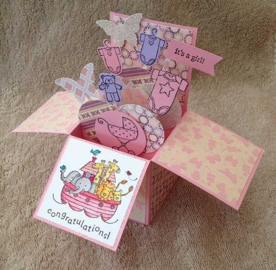 baby shower card baby girl card in a box congratulations handmade