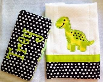 Wipe Case And Burp Cloth Set Cute Dinosaur Lime Green Black White Polka Dot Gift Set
