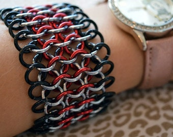 Red, Black and Gunmetal Chainmaille Cuff