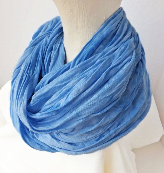 "Infinity scarf - rayon scarf - crinkle scarf - spring scarf - light blue - sky blue - spring scarf - hand dyed - 21"" x 77"" - moody blues"