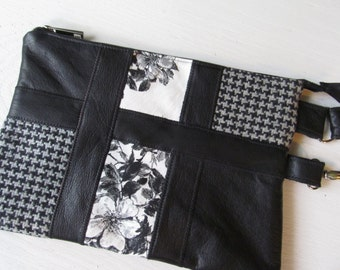 Handmade Clutch Wristlet Black Leather Houndstooth Wool Large
