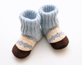 "Thick Felted Wool Slipper Baby and Toddler Booties ""Aspen"" - Made to order 3 m - 3 yrs -Solid color - Upcycled"