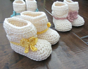 Spring Ankle Boots - Baby Crochet Booties - Yellow Pink Blue Bows - Spring Colors - Spring Baby Shoes