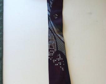 Vintage maroon skinny City Streets tie