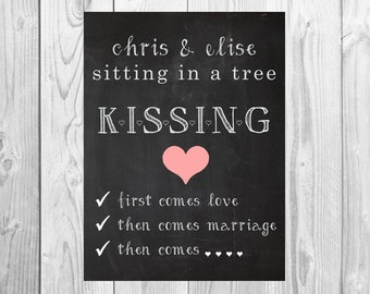 Sitting in a tree, kissing: First Comes Love, We're Expecting Chalkboard Printable - baby/ pregnancy announcement, baby in a baby carriage