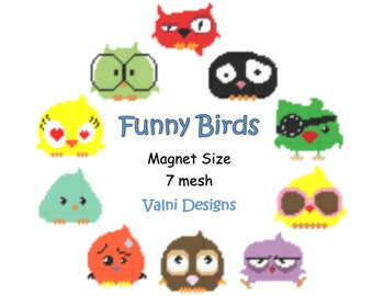 NEW-Funny Birds-Magnets-10 patterns (PDF, Instant Download, Plastic Canvas Pattern, 7 mesh)