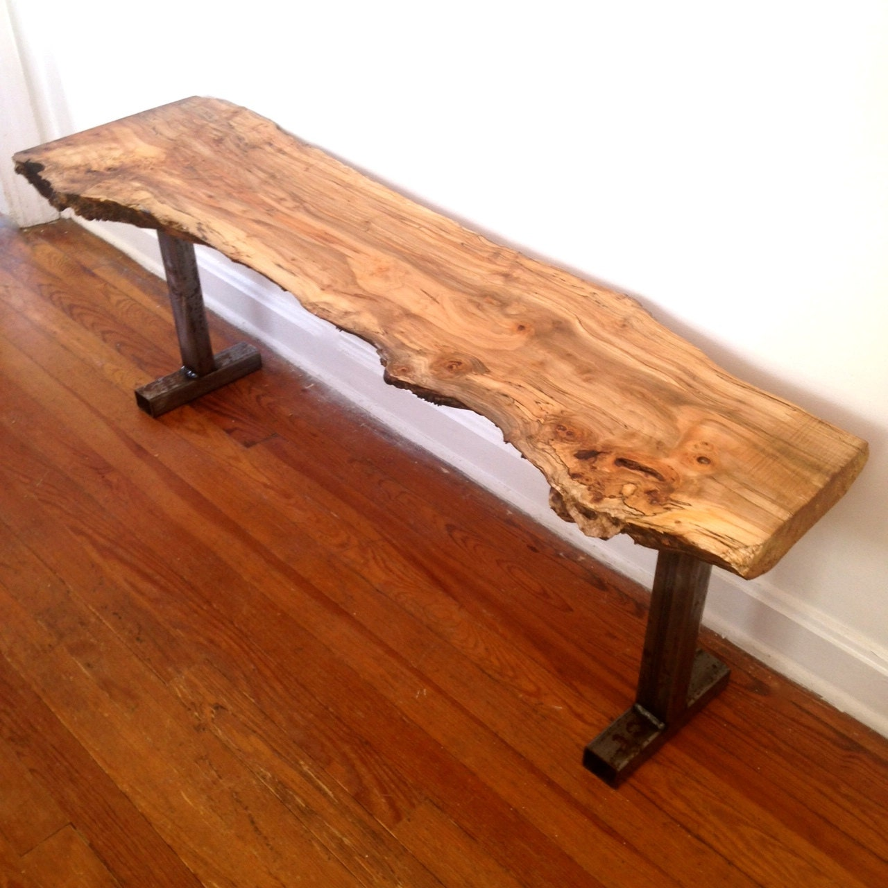 Reclaimed Live Edge Maple Coffee Table Bench Industrial: Live Edge Wood Bench Maple Bench Reclaimed Steel Base