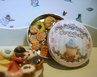 Chocolate Biscuit Metal Tin Miniature for Dollhouse 1:12 scale