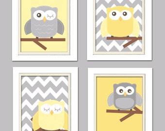 Yellow and gray nursery, Nursery Owl Art, Grey and Yellow Nursery, Owl Nursery, Set of 4 8x10