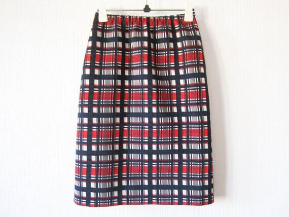 white blue plaid skirt checkered crimplene by