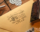 "Cutest little vintage-inspired return address stamp in the whole world - 2.5"" x 1.5"" - Charlotte"