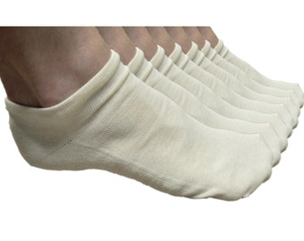 7 pairs, ankle socks, 100% Organic cotton, natural color, Made in USA